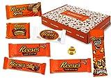 Reeses - Sweet-Box - Cesto regalo | 8 diversi dolci americani | Tazze di burro di arachidi in latte intero e cioccolato bianco | USA Reese Sticks, Nut Bar, Pezzi, Big Cup ecc.