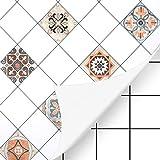 KINLO Fliesenaufkleber 61 x 500cm 2 Rollen Mosaikfliesen Tapeten selbstklebende für Bad und Küche Fliesensticker für Wandfliesen Typ-A