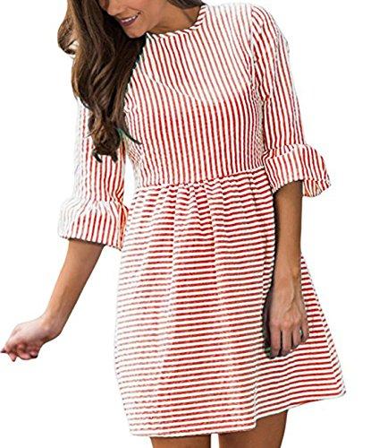 Donna Rotondo Collo Elegante Abiti a Righe Casuale Vestiti da Cerimonia Partito Dress Vestito Maniche 3/4 Sottile Swing Mini Abito Rosso