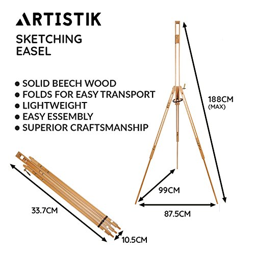 Field Easel - Wooden Tri-Pod Artist Easel, Portable, Lightweight and Professional Easel Stand for Painting, Sketching, Display, Exhibition, and Art, Collapsible Floor Standing Students and Hobbyists