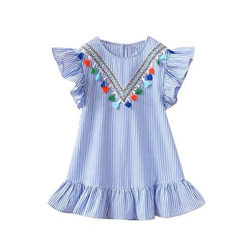 Amlaiworld Sommer Retro quaste locker niedlich Kleid Baby Gemütlich Sport rüschen Ärmel Kleid Mädchen Kinder Baumwolle gestreift Mini Dress, 1-6 Jahren alt (6 Jahren, Blau) (Mini-falte-stuhl)