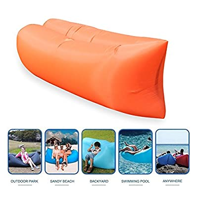 Inflatable Lounger,OUTDAY Portable Air Beds Sleeping Sofa Couch,Air Mattresses Beds for Travelling, Camping, Beach, Park, Backyard (Orange) - inexpensive UK light shop.
