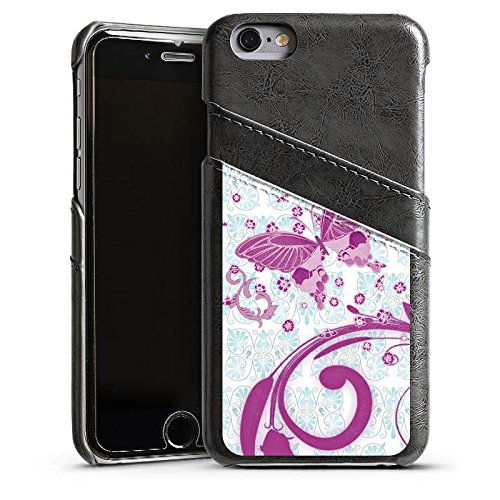 Apple iPhone 5s Housse étui coque protection Rose vif Papillon Papillon rose Étui en cuir gris