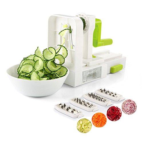 comprare on line zanmini Grattugia per verdure di piatto da cucina, mandolina cucina funzioni 5 in 1, Grattugia regolabile per tagliare, pelare, affettare e grattare le verdure e le frutte, affettatrice verdure (Verde spiralizzatore)