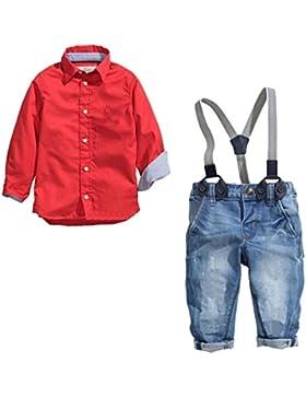 Dehutin 2017 Niños Moda Conjunto de la ropa 2 Piezas Camisas Roja y Peto Vaquero Overall Jeans