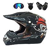 MRDEER Adult Motocross Helm Unisex Off Road Helm Motorradhelm Cross Helme Schutzhelm ATV Helm für Männer Damen Sicherheit Schutz, mit Handschuhe Maske Brille,Matteblack,M