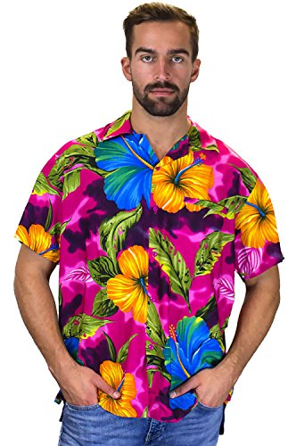 Funky Hawaiihemd, Kurzarm, Große Blume, pink, XS (Blumen-hawaii-shirt)