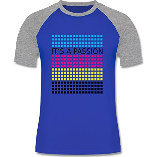 Nerds & Geeks - It's a passion - CMYK - zweifarbiges Baseballshirt für Männer Royalblau/Grau meliert