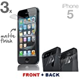 3 x Premium Protective Front and Back MATTE Matt Full Body Screen Protector for Apple iphone 5 5G 5s By Shelfone ®