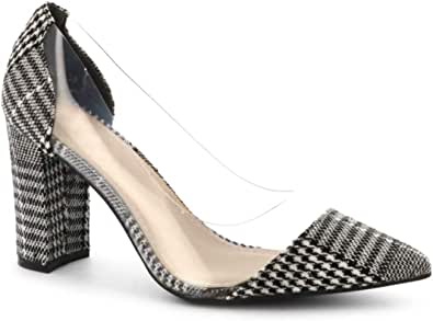 Royaume-Uni Femme Bloc Talon Enfiler Pompe Fashion compensés à bout pointu cuir verni Court Shoes