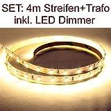 SET LED Strip Streifen WARMWEISS 4 Meter inkl. Netzteil und Dimmer