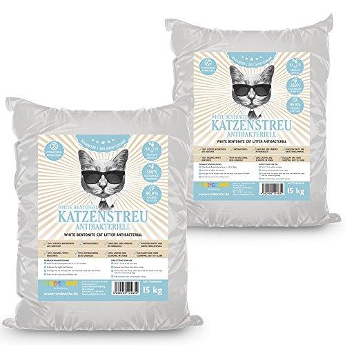 RinderOhr White Katzenstreu Antibakteriell 30kg -