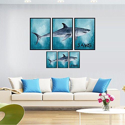 UniqueBella Pegatina de Pared Vinilo Decorativo Adhesivo Decoración para Hogar Sala Habitación 3D Efecto Tiburón en el Mar