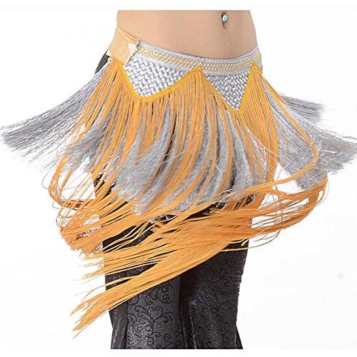 Frau Hüfttuch Trainieren Taille Kette Handgefertigt Weben Indien Bauch Tanzen Tribal Gelb Silber Quaste Schals Wickeln Rock Gürtel . Gray . One Size