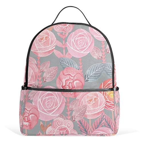 Rucksack für Damen mit Wasserfarbe, Blumen, lässig, Mädchen, Schulranzen, Tagesrucksack, für Schule und Camping, von ISAOA -