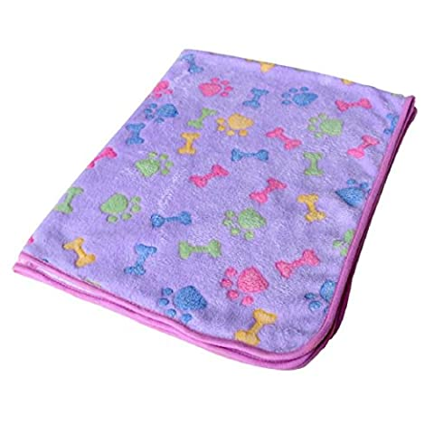 FEITONG Hamsters Pad Puppy Warm Bed, Blanket Pet Cat Mat Dog Puppy Warm Bed Paw Coral Fleece Cover (L, Purple)