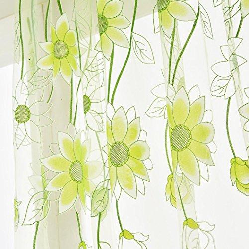 LCLrute Vorhang 200cm x 100cm Behandlung Voile Drape Valance 1 Panel Stoff Blätter schiere Vorhang Tüll Fenster (Grün) (Schiere Stoff Schmetterling)