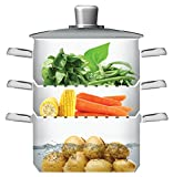 KitchenCraft Induction-Safe Stainless Steel 3-Tier Food Steamer Pan / Stock Pot, 20 cm (8)