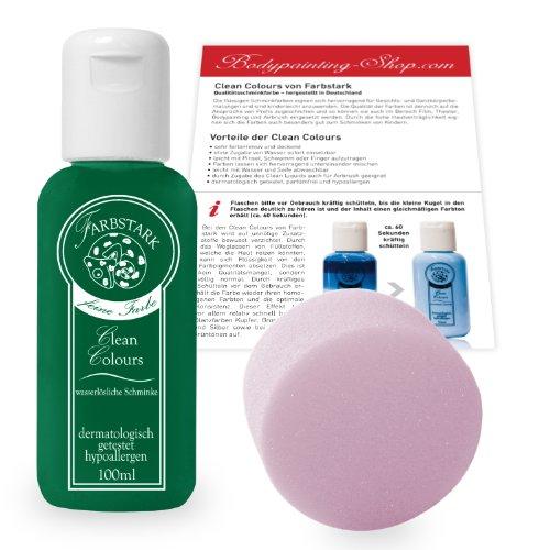 ng Farben - hautfreundliche Körperfarbe in Profi Qualität (auch für Airbrush geeignet), Set: 100 ml Farbe Dunkelgrün + Schminkschwamm (Profi-qualität-kostüme)