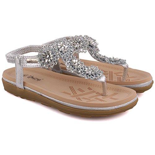 Unze Nouveautés Femmes 'Imoga' Floral Embellished Carnival Beach Sandales d'été Taille de la chaussure 3-8 Argent