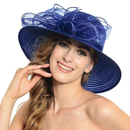 Damen Eichen Derby Kirchen Kleid Britischen Tee Party Hochzeit Hüte S052 (Marine)