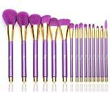 Qivange Brochas de Maquillaje, Grupo de Brocha de Maquillaje Profesional Vegano/Sintético Brocha de Base Grupo de Brocha de Maquillaje de Delineador Sombra de Ojos + Bolso de Cosmético, Púrpura con Oro(15pcs)