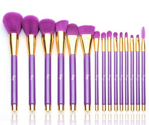 Qivange 15tlg Make up Pinselset, professionelle synthetische/vegan Make up Brush Schminkpinsel Set ausgezeichnete Kosmetikpinsel Lidschatten Pinselset mit Kosmetik Tasche, - Leicht Halloween-make-up Hand Von
