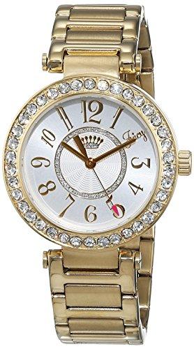 Juicy Couture Luxe reloj infantil de cuarzo con para mujer plateado esfera analógica y correa color dorado rosa 1901151
