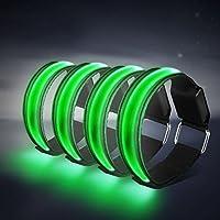 Alviller 4 Stück LED Armband, Reflective LED leucht Armbänder Lichtband Kinder Nacht Sicherheits Licht für Laufen Joggen Hundewandern Running und andere Outdoor Sports