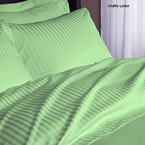 Crafts Linen Egyptian Cotton 400-thread-count Sateen King singolo, 4pezzi Set (+ 18cm) Pocket Depth, Sage Stripe