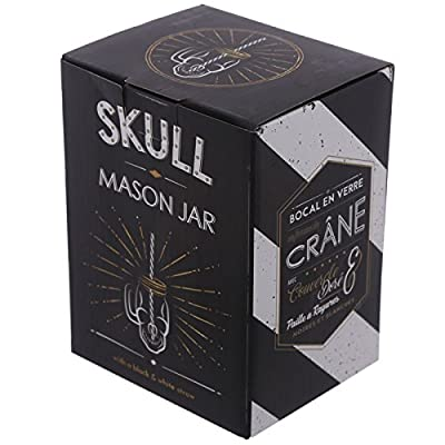 Skull Design Drinking Glass Jar with Straw and Metal Lid - Clear/Black/White/Metallic/Gold by CHN