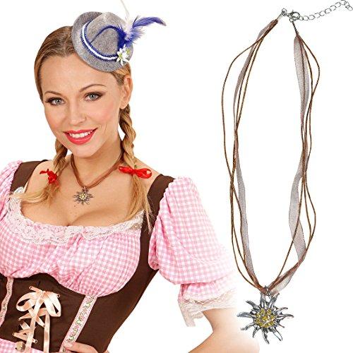 Trachtenkette Edelweiß Dirndl Accessoire Kette Oktoberfest Trachtenhalskette Bayern Modeschmuck Tracht Kostümzubehör Tirolerin