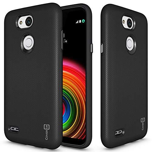 coveron [Rugged Serie] LG X Power 3Fall, Tough Schutz, Handy Cover mit Easy-Press-Metall Tasten für LG X Power 3, Schwarz (Kind Handys Att)