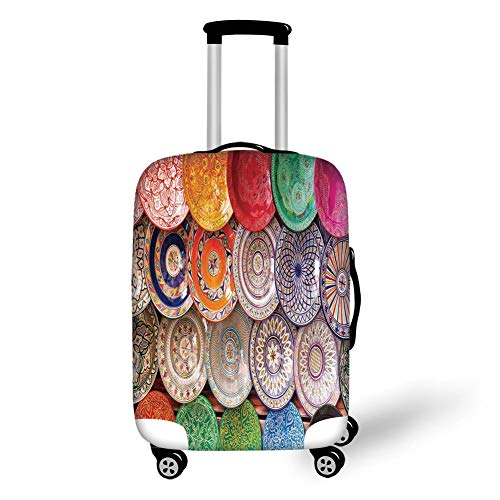 Travel Luggage Cover Suitcase Protector,Moroccan Decor,Traditional Arabic Handcrafted Colorful Plates Shot at The Market in Marrakesh,,for Travel S Clear Plate Stand