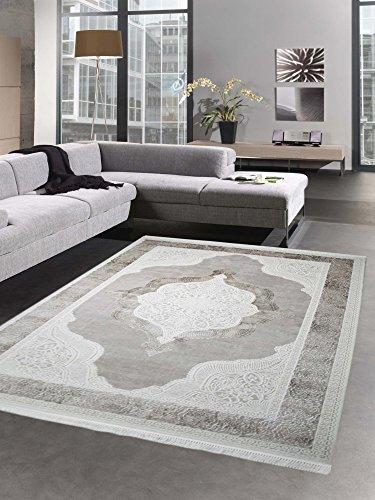 Teppich Wollteppich Ornamente Oriental Creme Taupe Auch in Oval erhältlich Größe 80 x 300 cm -