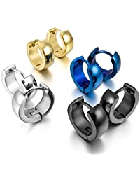 MunkiMix 4 Coppiaes Acero Inoxidable Semental Aro Hoop Huggie Pendientes Negro Azul Plata Oro Dorado Dos Tono