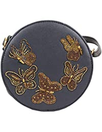 Round Grey With Butterfly Sling Clutches For Womens Party Wear Design 34