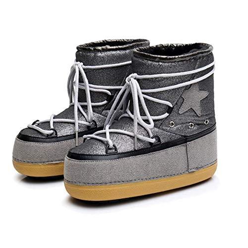 FMWLST Stiefel Frauen Winter Warme Schnee Stiefel Damen Mittelwade Flach Mit Atmungsaktive Rutschfeste Stiefel Erwachsenen Mädchen Skischuhe, 37