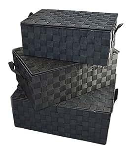 Aufbewahrungskiste mit Deckel 3er-Set Truhe Schachteln