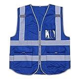 Freebily Unisex reflektierende Warnweste Sicherheitsweste mit Taschen und Reißverschluss Sicherheitswarnweste - M-XXL- 3 Farben zum Auswahl Blau XXL