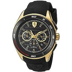 Ferrari Men's Quartz Gold-Tone and Silicone Automatic Watch, Color:Black (Model: 830346)