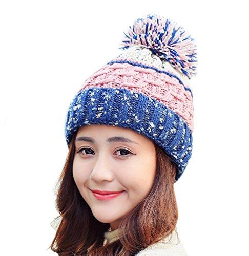 ECHERY Damen Winter Dicke Kabel Stricken Slouchy Stripe Beanie Pom Pom Skull Cap Warme Hüte Blau (Stricken Cuff Hut Beanie)