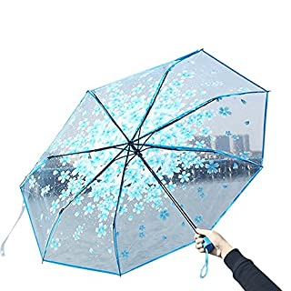 Sobotoo Fashion 2018 New Creative Transparent Clear Cherry Blossoms Triple Fold Travel Daily Umbrella,bow Dome Parasol Slip-proof Handle For Easy Carry (Blue)