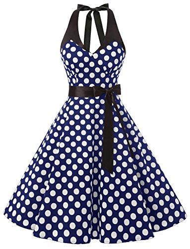 Dressystar DS1958 50er Rockabilly Kleid Vintage Neckholder Retro Punkte Swing Knilang Partykleider Ärmellos Marineblau Weiß Dot B (Girls Kleider Jahre 50er)