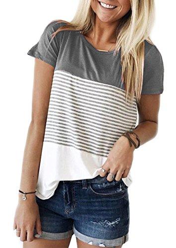 Ehpow Damen Sommer T-Shirt Casual Streifen Patchwork Kurzarm Oberteil Tops Bluse Shirt (Large, Grau)