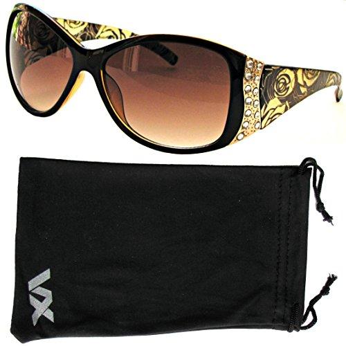 VOX Damen Sonnenbrille Designer Sport Fashion Strass Vintage Floral Brille - Amber-Frame - Amber-Objektiv