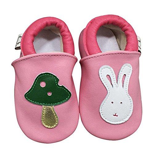 Goldore 100% echtes Leder weichbesohlte Neugeborene Kleinkind -Säuglingsrutschfeste Schuhe Vor-Wanderer 0-2 Jahre (XL, Küken Marine) Hase