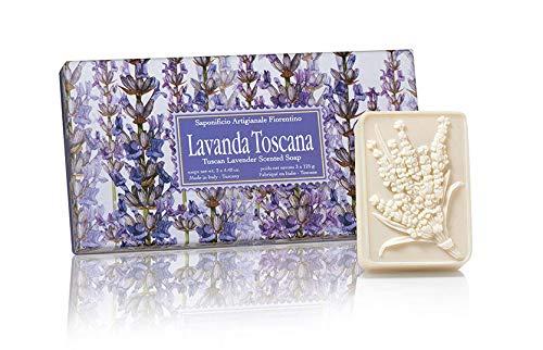 Confezione regalo 3 saponette rettangolari lavorazione artigianale essenza lavanda toscana scolpite ciuffo lavanda