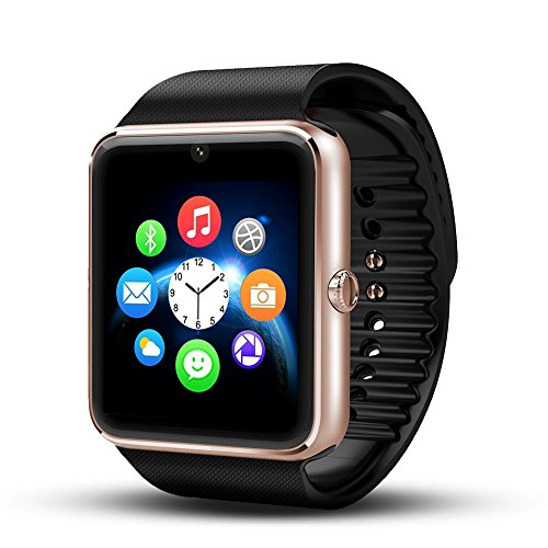 Yarrashop® Bluetooth Smart Watch Wristwatch with Camera SIM Card Slot Smart Phone Watch for Andriod Samsung HTC Sony and Other Android Smartphones Bracelet Smartwatch(Golden and Black)