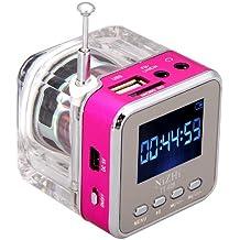 Andoer mini digital portátil altavoz de la música - MP3/4 Player Micro SD/TF USB disco Radio FM con antena telescópica y salida para auriculares y funciones